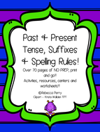 Past & Present Tense, Suffixes - NO PREP - Resources, Worksheets, Early Finishers! Over 70 pages!!!