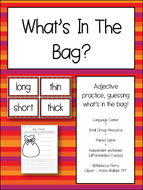 Literacy / English Adjectives Activity - What's in the bag? NO PREP resources & worksheets!