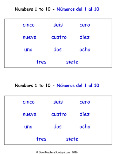 Numbers 0-10 in Spanish Worksheets, Games, Activities and Flash ...
