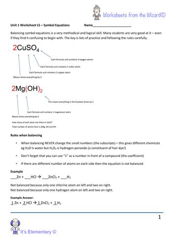 2016 GCSE chemistry - Unit 1 - Lesson 5 balancing chemical ...