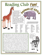 African Birds and Animals Word Search Puzzle