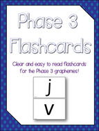 Phase 3 Grapheme Flashcards - NO PREP - Print & Use! Sassoon Primary Font!