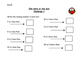 One less one more challenge by caro_ob15 | Teaching Resources