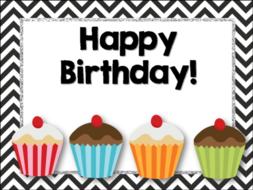 Birthday Chart Chevron And Cupcakes