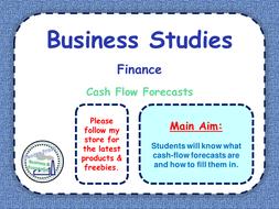 cash flow forecasts finance business studies ppt worksheet