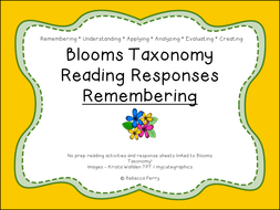 Blooms Taxonomy Reading Responses – 12 NO PREP activities for remembering! Guided Reading!