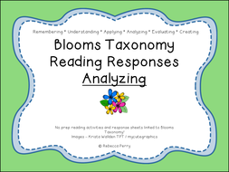 Blooms Taxonomy Reading Responses – 12 NO PREP activities for analyzing! Guided Reading!