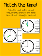Match the time - Analogue & Digital - to the hour - Math Activity (12/24 hour)!