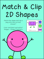 Match & Clip - 2D Shapes - Math Activity - Print and go!!