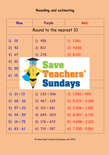 Rounding And Estimating Ks1 Worksheets Lesson Plans