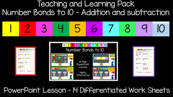Number Bonds to 10 : PowerPoint Lesson and Worksheets