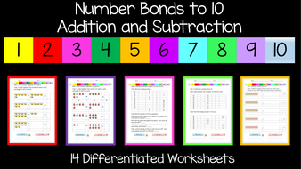 Addition and Subtraction / Number Bonds to 10 Worksheets