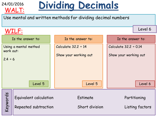 Ks3 Multiplying And Dividing Decimals Mental Written And