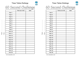 60-in-60 times tables challenge booklet