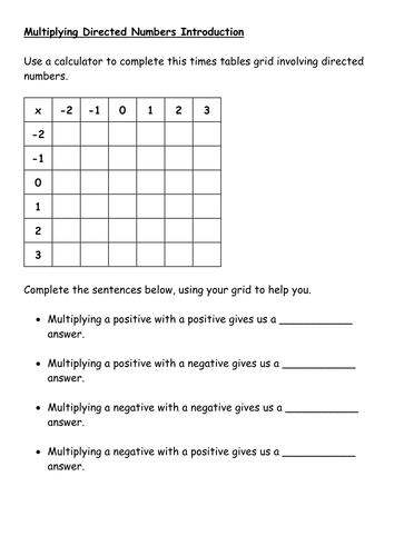 Directed (negative) numbers by PixiMaths - Teaching Resources - TES