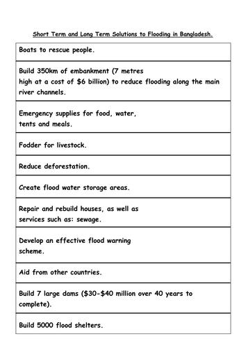 Short Term Solution : Managing floods in bangladesh worksheet by ksims