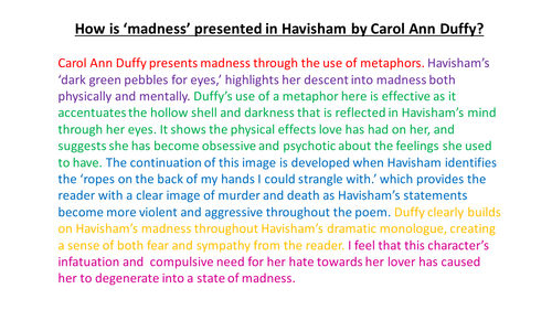 havisham by carol anne duffy essay Havisham is a poem written in 1993 by carol ann duffyit responds to charles dickens' character miss havisham from his novel great expectations, looking at havisham's mental and physical state many decades after being left standing at the altar, when the bride-to-be is in her old age.