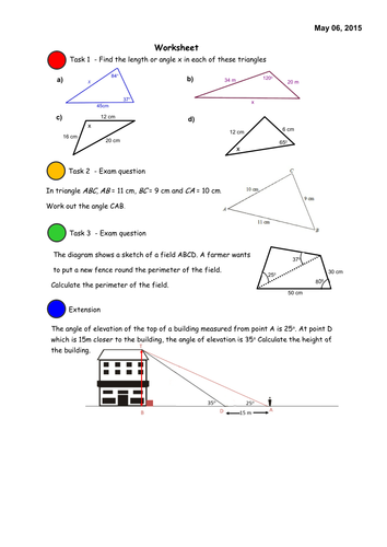 sine and cosine rule notebook lesson by david lawrence teaching resources tes. Black Bedroom Furniture Sets. Home Design Ideas