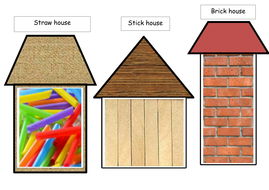 Collage template for the three little pig,s houses. | Teaching ...