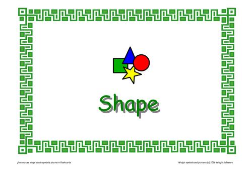 'Shape' Vocabulary Flashcards.
