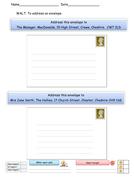 Addressing Envelopes Worksheet - English Functional Skills Entry Level