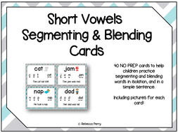 Short Vowels Segmenting & Blending - CVC Words - English- Phonics & Reading! 40 NO PREP Cards!