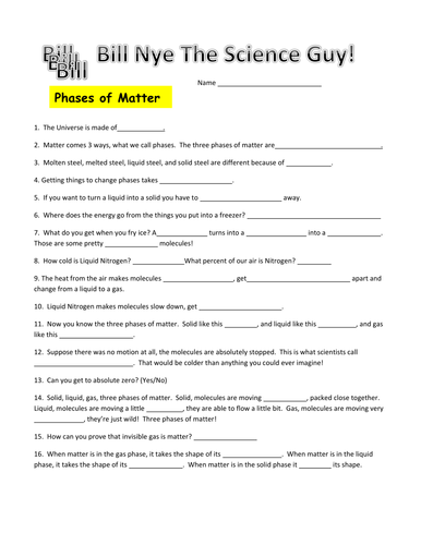 Worksheets Bill Nye Matter Worksheet bill nye phases of matter video worksheet by mmingels teaching resources tes