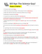 Bill Nye Phases Of Matter Video Worksheet: bill nye phases of matter video worksheet by mmingels teaching ,