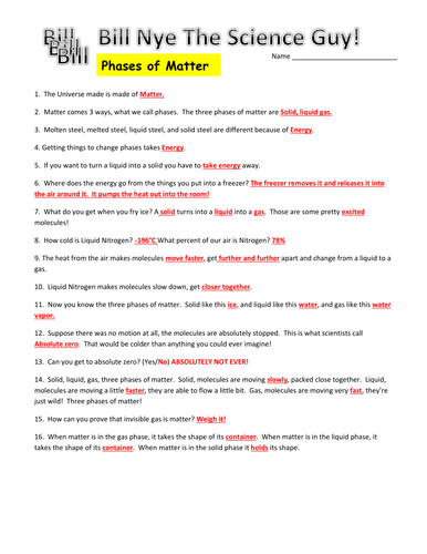 Bill Nye The Science Guy Heat Worksheet Answers - Worksheets