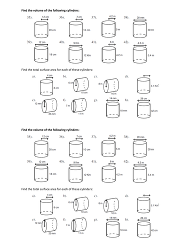 Worksheets Surface Area Of Cylinder Worksheet sa and volume of cylinder worksheet delwfg com surface area cylinders discovery