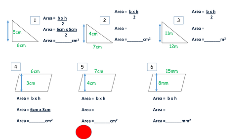 Area of Triangle Parallelogram by JamesCMartin Teaching – Area of Parallelograms Worksheet