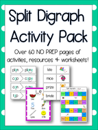 Split Digraphs / Magic e Pack - Over 60 NO PREP Pages of Games, Worksheets & Resources! Phonics!