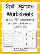 Split Digraph Worksheets - Literacy, English, Phonics! 25 NO PREP Worksheets!