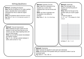 Solving Quadratic Equations Revision By Caleech Teaching Resources
