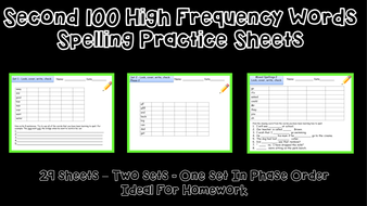 High Frequency Words: Spelling  Worksheets