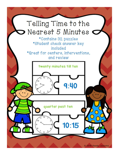 telling time to the nearest 5 minutes puzzles by readylessons teaching resources tes. Black Bedroom Furniture Sets. Home Design Ideas