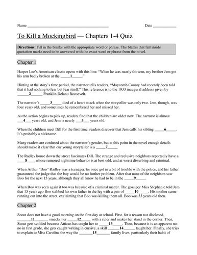to kill a mockingbird by harper lee chapters 1 4 quiz with answer key by scottdstratton. Black Bedroom Furniture Sets. Home Design Ideas