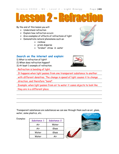 Worksheets Refraction Worksheet light refraction physics by teacher rambo teaching resources tes