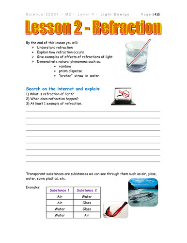 Worksheets Refraction Worksheet light refraction physics by teacher rambo teaching resources tes g8 u4 l2 worksheet pdf