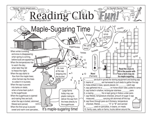 Maple-Sugaring Time Two-Page Activity Set by PuzzleFun