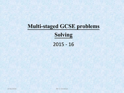 Multi-stage Problem solving
