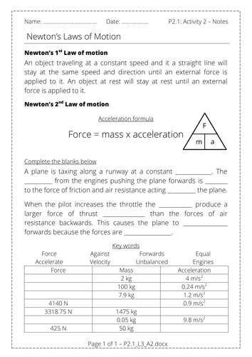 P2.1: Newton's 1st and 2nd Law, resultant force and F=ma ...