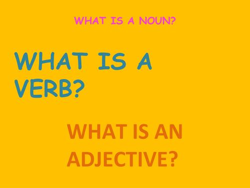 What is a noun, a verb, an adjective?