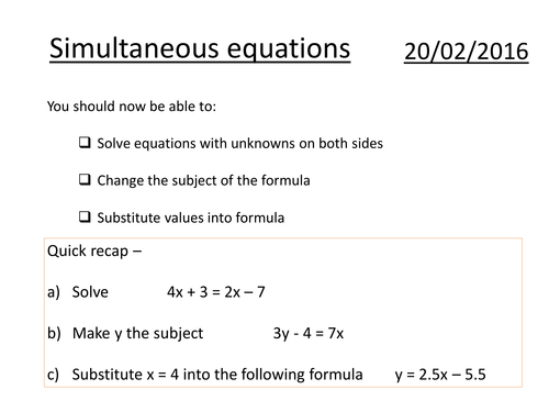 Basic simultaneous equations substitution by danielwkelly – Solving Equations by Substitution Worksheet