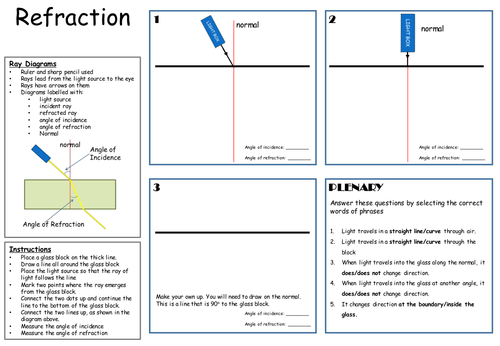 P154 AQA Refraction by biscuitcrumbs Teaching Resources Tes – Refraction Worksheet