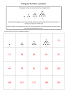 KS2 Triangular Numbers 5 Worksheets + Answers