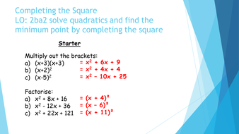 Completing the Square - Fully differentiated by rpwelch32 | Teaching ...