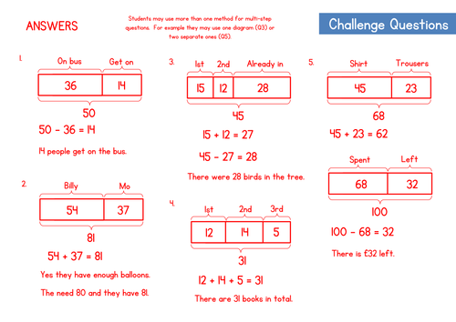 Bar Modelling Worksheet - Part Whole Questions by WRMathsHub ...
