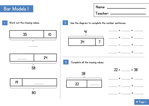 Bar Modelling Worksheet Part Whole Questions by WRMathsHub – Multiplying Fractions Using Models Worksheet