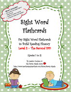 Sight Word Flashcards - 100 Level 2 Fry Sight Word Flashcards for Reading  Fluency
